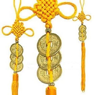 3 Golden Coins Love and Protection Chinese Feng Shui Chinese Knot Hanging