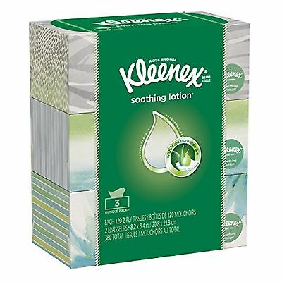 Kleenex Lotion Facial Tissue Flat, 120 Count (Pack of 3)