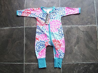 BNWT Baby Girl's Bonds Pink, Blue & White Zip Wondersuit/Coverall Size 000