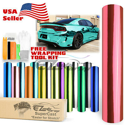 *10 Colors Supercast Easy Stretch Chrome Car Vinyl Wrap Bubble Free Sticker Film
