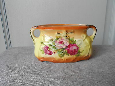 ANTIQUE French CERAMIC Floral Garden POT Jardiniere w/ ROSES numbered 2271