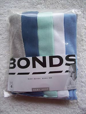 BNIP Baby Boy's Bonds 5 Pack Blue, White & Grey Singlets Sizes 000, 00 & 0