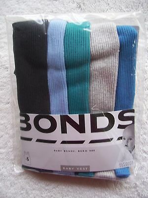 BNIP Baby Boy's Bonds 5 Pack Blue & Grey Singlets Sizes 000, 00 & 0