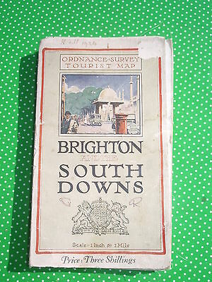 1922 vintage Ordnance Survey 1 inch Tourist Map BRIGHTON & SOUTH DOWNS on cloth