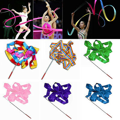 4M Dance Ribbon Gym Rhythmic Art Gymnastic Streamer Twirling Rod Stick Tempting