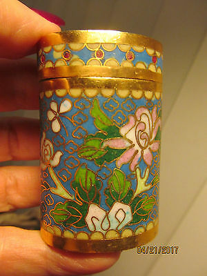 Vintage Chinese Blue Cloisonné Enamel Brass Flower Trinket Pill / Opium Box Oval