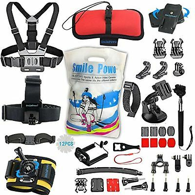 SmilePowo Sports Action Professional Video Camera Accessory Kit for GoPro Her...