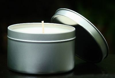 Cotton Wicks Large 40hr SUEDE /& MUSKY VETIVER Scented ORGANIC SOY CANDLE TIN