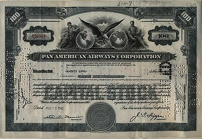 1942 Pan American Airways Stock Certificate Airline AM