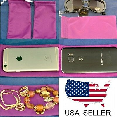 2 Purple Sunglasses Eyeglasses Jewelry Cell Phone Bag Soft Microfiber case NEW