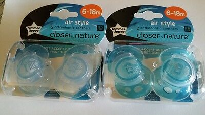 New Tommee Tippee Closer To Nature Air Soother 2 Pk 6-18 months - blue