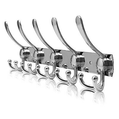 15 Hooks Wall Hanger stainless steel Coat Hat Clothes Robe Holder Rack Hook