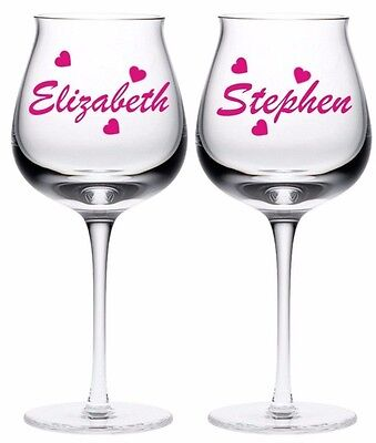 2 X Personalised Name Wine Glass Vinyl Stickers Diy Available In 24