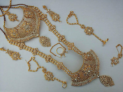 Indian Bridal Style 8 Piece Jewellery Set Gold Plated Clear  Stones New Aq-001