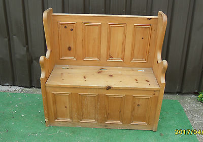 Vintage Church Chapel Pew Settle, Bench, Solid Pine, under Seat Storage,
