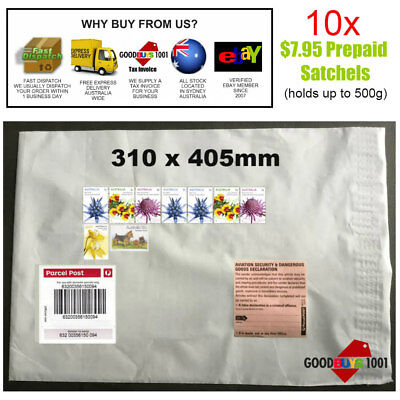 10 x 500g Parcel Post Satchels With Australia post Tracking 310x405mm $7.95 NEW