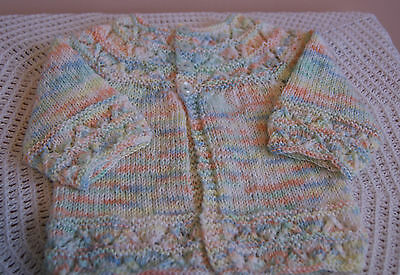 New Hand Knitted Baby Boy's Jacket - Multi-coloured - Newborn to 3 months