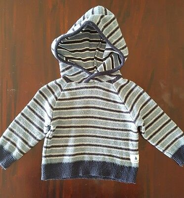 Country road- baby boys stripe hooded knitted, size 00(3-6months)