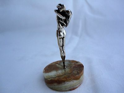 VERY UNUSUAL ITALIAN 925 SOLID SILVER SCULPTURED NUDE COUPLE EMBRACING , c1959