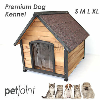 S M L XL Wooden Pet Dog Kennel House Timber Log Cabin Wood / Waterproof Mattress