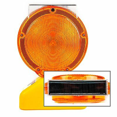 Solar Rechargeable Traffic Construction Barricade LED Warning Light, 3-Way Blink