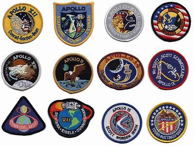 Patch Ecussons Collection NASA Mission Apollo Thermocollants 12 écussons