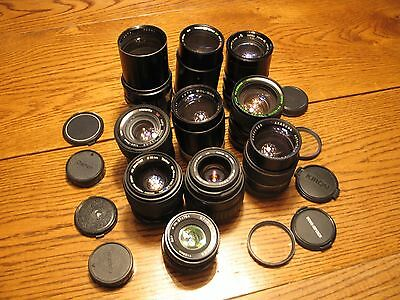 Vintage 35mm camera lens lot Vivitar Sigma Prospec Soligor Asanuma Quantaray Ect