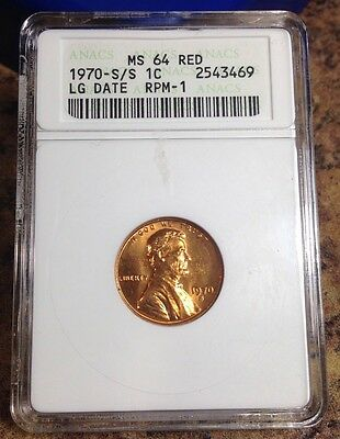 1970 S/S Lincoln Cent, Large Date, Rpm #1, Anacs MS 64 Red