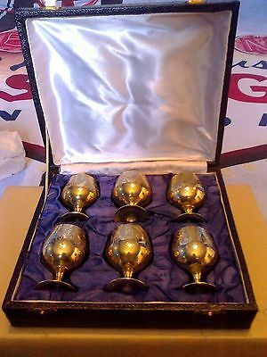 Set Of Six Indian Small Brass Goblets In Box.