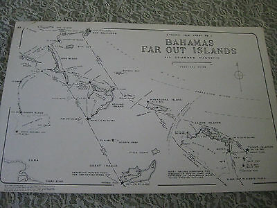 1977 Vtg Bahamas Far Out Islands Harbor Nautical Map 17 X 11 Tropic Isle Kline