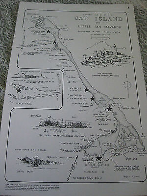 1979 Vtg Cat Island Little San Salvador Nautical Map 17 X 11 Tropic Isle Kline