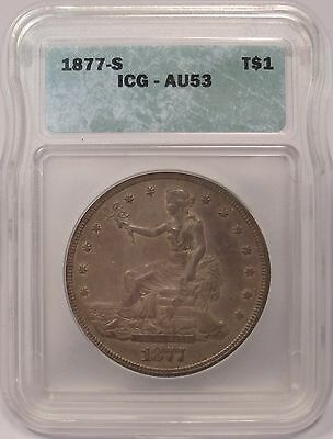 1877-S Trade Silver Dollar - ICG Certified AU53
