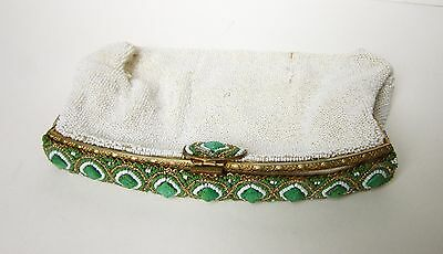 Vintage White,Green&Gold GLASS BEADED Clutch PURSE-Orante Brass FRAME-Estate Bag