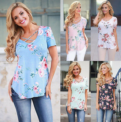 UK Plus Size Womens Floral Print Short Sleeve Ladies Casual Tops T-Shirt Blouse