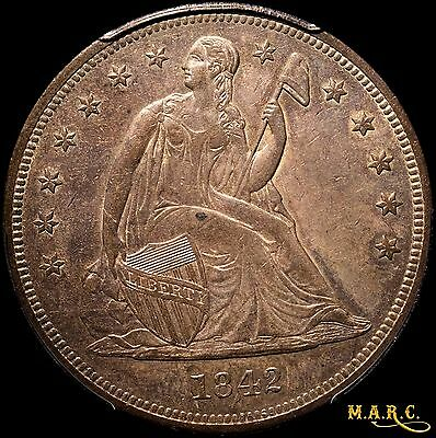 1842 AU53 PCGS 1$ Seated Liberty Dollar, Deep Brass Multi-Colored Toning!! MARC