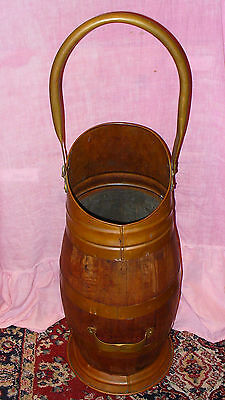 "Old Coopered Wooden Coal Scuttle With Copper And Brass Fittings 24"" Tall Lovely"