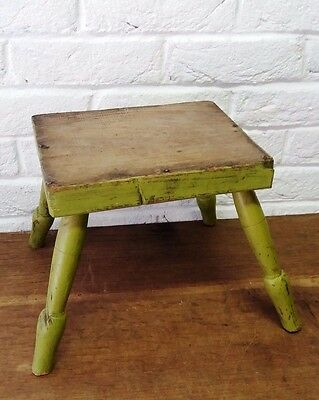 Old Farmhouse Shabby Vintage Wooden Milking Stool - Rustic Country Living Prop