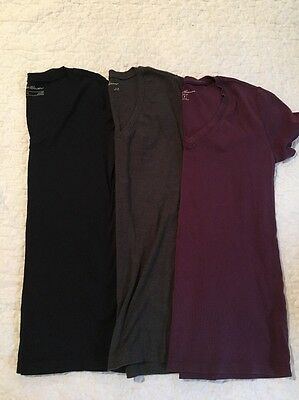 Eddie Bauer women's size M, shirt lot of 3, black, purple, gray