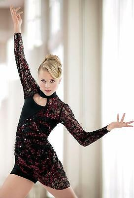 Dance Costume Large Adult Blue Black Lace Dress Contemporary Solo Competition