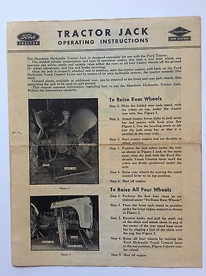 Original 1948 Dearborn TRACTOR JACK Instructions Ford Tractor 8N