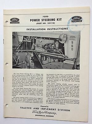 Original 1956 Ford Tractor POWER STEERING KIT Instructions 700 900 Row Crop