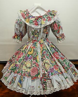 2 Pc Ticking And Garden Print Square Dance Dress