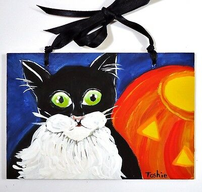 ~ Priscilla My Cat w/JOL ~ OOAK Acrylic Painting By Toshie Halloween Ornament