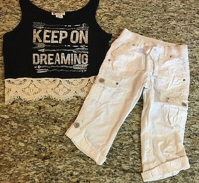 JUSTICE / Millie GIRLS SIZE 8 White CAPRI PANTS / Black & LACE Tank TOP OUTFIT