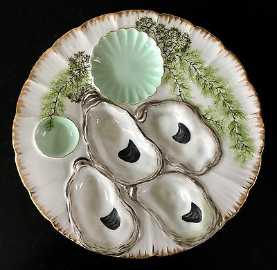 Signed OYSTER PLATE rare ANTIQUE H & Co LIMOGES FRANCE SEA LIFE Seaweed 1889