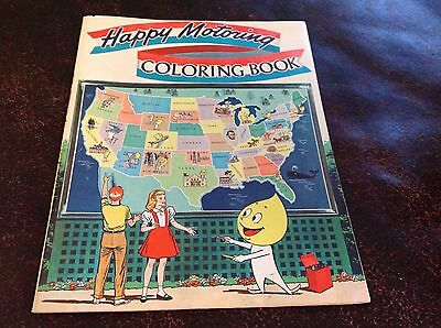 1963 Unused Happy Motoring Coloring Book Humble Oil
