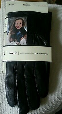 Womens / Ladies Trufit Fleece Insulated Leather Gloves One Size Black