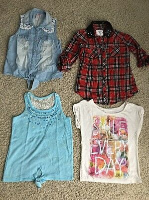 Justice Girls Size 12 Lot Of 4 Short Long Sleeve Tops
