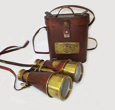Nautical Vintage Binocular with Brown Leather Case Sailor London Distant View