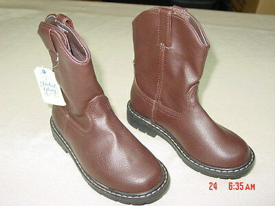 NWT Children Boy Pull on Cowboy Boots New Unused Brown Casual Footwear for Kids